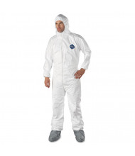 DuPont Tyvek Elastic-Cuff Hooded Coveralls w/Boots, White, Large, 25/Pack