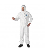 DuPont Tyvek Elastic-Cuff Hooded Coveralls, HD Polyethylene, White, X-Large, 25/Pack