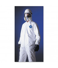 DuPont Tyvek Elastic-Cuff Hooded Coveralls, HD Polyethylene, White, Large, 25/Pack