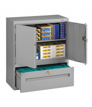 Tennsco Storage Cabinets with Lateral Drawer (Shown in Medium Grey)