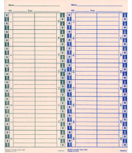 Lathem Semi-monthly time card for 1600E/1000E/1500E/5000EP/900E, 2 sided (1000 pcs)