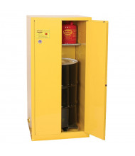 Eagle 2610 Self Close Two Door 1-Vertical Drum Safety Cabinet, 55 Gallons, Yellow