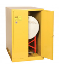 Eagle 2810 Self Close Two Door 1-Horizontal Drum Safety Cabinet, 55 Gallons, Yellow (Example of use, drum dolly sold separately)