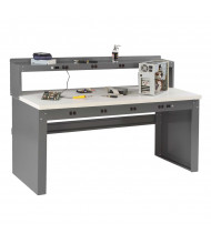 Tennsco EB-2-3072P Plastic Laminate Electronic Work Bench with Panel Legs and Electronic Riser (Shown with Electronic Riser)