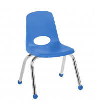 "ECR4Kids 12"" H Plastic Classroom Stacking Chair with Chrome Legs and Ball Glides, 6-Pack (Shown in Blue)"
