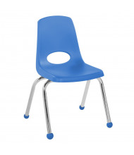 "ECR4Kids 14"" H Plastic Classroom Stacking Chair with Chrome Legs and Ball Glides, 6-Pack (Shown in Blue)"