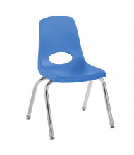 "ECR4Kids 14"" H Plastic Classroom Stacking Chair with Chrome Legs, 6-Pack (Shown in Blue)"