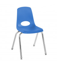 "ECR4Kids 16"" H Plastic Classroom Stacking Chair with Chrome Legs, 6-Pack (Shown in Blue)"