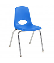 "ECR4Kids 18"" H Plastic Classroom Stacking Chair with Chrome Legs, 5-Pack (Shown in Blue)"