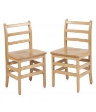 "ECR4Kids 18"" H Hardwood Ladderback Classroom Chair, Oak, 2-Pack"