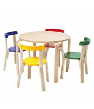 """ECR4Kids 28"""" Round Bentwood Preschool Table and Chair Set, Assorted"""