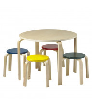 """ECR4Kids 28"""" Round Bentwood Preschool Table and Stools Set, Assorted"""
