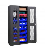 Durham Steel 2-Shelf Clearview Ventilated Bin Storage Cabinets with Hook-On Bins