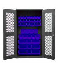 Durham Steel Ventilated Bin Storage Cabinets, 42 Hook-On Bins