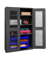 Durham Steel 3-Shelf Clearview Ventilated Bin Storage Cabinets, 6 Hook-On Bins