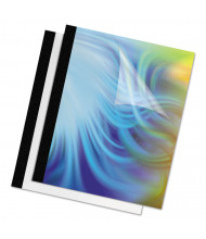"""Fellowes 5 Mil 8.5"""" x 11"""" Square Corner Clear/Black, Thermal Binding Cover, 60 Sheet Capacity, 10/Pack"""