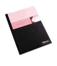 """Fellowes 5 Mil 8.5"""" x 11"""" Square Corner Clear/Black Thermal Binding Cover, 120 Sheet Capacity, 10/Pack"""