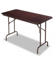 "Alera 48"" W x 24"" D Rectangular Wood Folding Table, Mahogany"