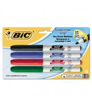 BIC Great Erase Grip Dry Erase Marker, Fine Point, Assorted, 4-Pack