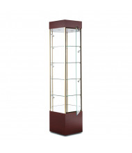 """Tecno GL103 Hexagonal Tower Display Case 25"""" W x 21.75"""" D x 73"""" H (rosewood/gold frame, micro spotlights sold separately)"""