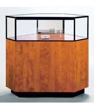 Tecno GL107 Quarter-Vision Jewelry Retail Display Case - Shown in amber pearwood with black frame
