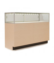 Tecno GL108 Quarter-Vision Jewelry Retail Display Case - Shown in maple laminate with silver frame