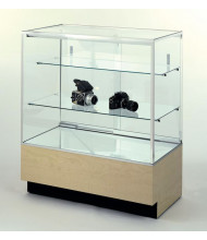 Tecno GL109 Full-Vision Jewelry Retail Display Case - Shown in maple laminate with silver frame