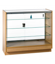 Tecno GL111 Full-Vision Jewelry Retail Display Case - Shown in maple laminate with silver frame
