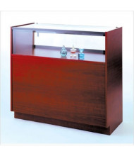 Tecno GL113 Quarter-Vision Jewelry Retail Display Case - Shown in rosewood laminate with gold frame