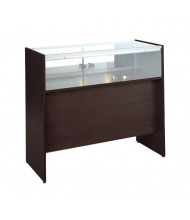 Tecno GL118 Tall Sitdown Quarter-Vision Jewelry Retail Display Case - Shown in mahogany laminate with silver frame