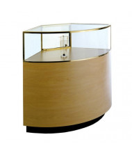 Tecno GL127 Quarter-Vision Curved Corner Jewelry Retail Display Case - Shown in maple laminate with gold anodized aluminum frame