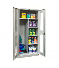 """Hallowell 800 Series 78"""" H Antimicrobial Safety-View Combination Storage Cabinets, Light Grey"""