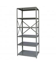 "Hallowell 6-Shelf 87"" H Hi-Tech Medium-Duty Open-Back Shelving Unit, Dark Grey"