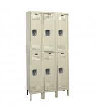 Hallowell Double Tier 3-Wide Premium Lockers (Shown in Tan)
