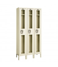 Hallowell Single Tier 3-Wide Safety-View Lockers, Tan