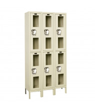 Hallowell Double Tier 3-Wide Safety-View Lockers, Tan