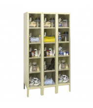 Hallowell 5-Tier 3-Wide Safety-View Plus Box Lockers, Tan