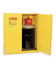 Eagle HAZ5510 Self Close Two Door 2-Vertical Drums Hazardous Material Safety Cabinet, 110 Gallons, Yellow