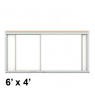 Ghent HSM2-46 Duo Track 6 ft. x 4 ft. Centurion Horizontal Porcelain Sliding Whiteboard
