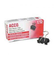 "Acco 1/4"" Capacity Steel Wire Mini Binder Clips, 12/Box"