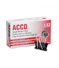"""Acco 5/16"""" Capacity Steel Wire Small Binder Clips, 12/Box"""