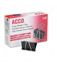 """Acco 1-1/16"""" Capacity Steel Wire Large Binder Clips, 12/Box"""