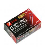 Acco No. 1 Wire Silver Nonskid Premium Paper Clips, 1000-Paper Clips