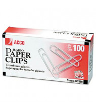 Acco Jumbo Steel Wire Silver Smooth Economy Paper Clip, 1000-Paper Clips