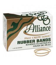 """Alliance 3-1/2"""" x 1/16"""" Size #19 Pale Crepe Gold Rubber Bands, 1 lb. Box"""