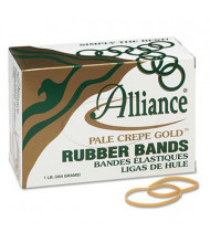"""Alliance 3"""" x 1/8"""" Size #32 Pale Crepe Gold Rubber Bands, 1 lb. Box"""