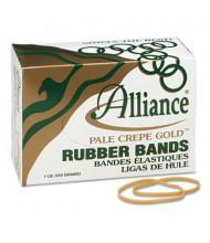 """Alliance 3-1/2"""" x 1/8"""" Size #33 Pale Crepe Gold Rubber Bands, 1 lb. Box"""