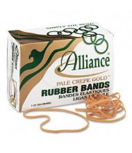 """Alliance 7"""" x 1/8"""" Size #117B Pale Crepe Gold Rubber Bands, 1 lb. Box"""