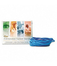 "Alliance 3-1/2"" x 1/16"" Size #19 Antimicrobial Non-Latex Cyan Blue Rubber Bands, 1/4 lb. Box"