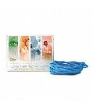 """Alliance 3-1/2"""" x 1/4"""" Size #64 Antimicrobial Non-Latex Cyan Blue Rubber Bands, 1/4 lb. Box"""